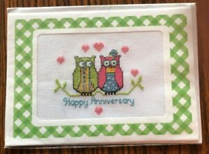 Completed Cross Stitch Greeting Card with Envelope - Anniversary