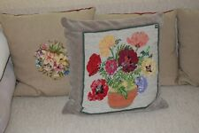 hand worked VINTAGE PETIT POINT/TAPESTRY cushion  complete with pad, Pack 2