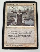 Consecrate Land -MP- {SLIGHT MISCUT} Alpha Edition MTG White SEE IMAGES LC-A