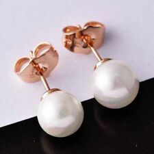 Beautiful New Rose Gold Filled Bright White 8mm Pearl Stud Post Earrings