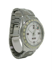 Moschino MW0022 Men's White Round Date Analog Facet Cut Stainless Steel Watch