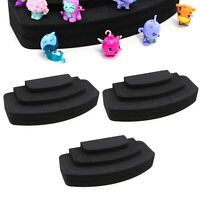 "3 Toy Figure Pyramid Stands Fits Shopkins Hatchimals Black Foam 3.5"" x 8"" 3 Tier"