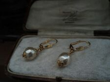 Vintage 10 mm Cream Baroque Pearl with Filigree Cap Drop Hook Pierced Earrings