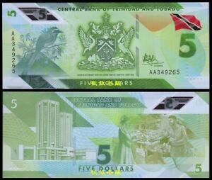 Trinidad and Tobago 5 Dollars, (2020),  Polymer,AA Prefix, UNC