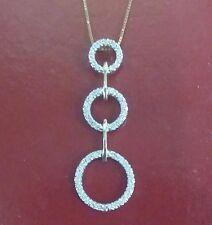 "Modern 14k yellow Gold 3 Eternity Circles Fully set Diamonds on 16"" 14k chain"