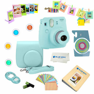Fujifilm Instax Mini 9 instant Camera ICE BLUE + 15 PC Accessory Deluxe Bundle