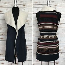 ALMOST FAMOUS Women's Sherpa Draped Sweater Vest Tribal Print NAVY Size Small S