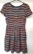Jack Wills orange white blue stripe dress size 6 silk cotton