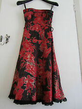 Black Red & Gold Floral Sleeveless Jane Norman Party Dress - Size 8 missing belt