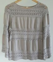 JV Womens Size 10 Casual Grey Boho Embroidered Lace Linen Blend Long Sleeve Top