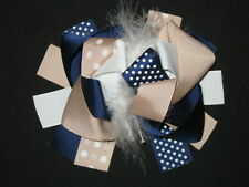 "NEW ""Navy & Khaki"" Fur Hairbow Alligator Clip Girls Ribbon Bows Clip 5.5 Inches"