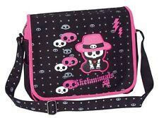 Skelanimals Chungkee Monkey Calavera Negro Rosa gótico Correa de hombro Courier Bag