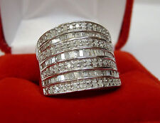 LARGE 1 CT Round Baguette Diamond Fashion Statement Wide Band Ring Silver Sz 7