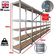 4 x Pack Racking Bays 5 Tier Boltless Garage Shelving Storage Unit Rack 360cm