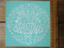Chalk MERRY CHRISTMAS bell interior designs silkscreen mesh transfer stencil NEW