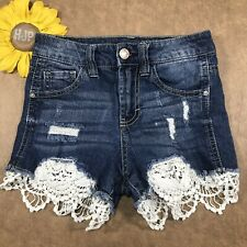 Almost Famous Womens High Rise Mini Shorts Size 0 Stretch Lace Blue Denim fs3338
