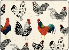 Set 4 Rooster Placemats Wipe Clean Cork Backed Ulster Weavers Place Mats