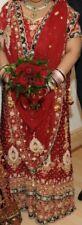 Indien Mariage Rouge Marron Or 3 pièces tenue Lengha Saree Taille Plus