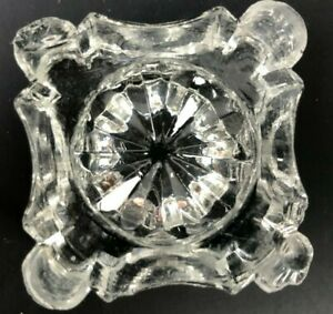 OLD Antique EAPG Open Salt Cellar Dip Dish Thick Clear GLASS Early Straw Mark