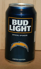 BUD LIGHT NFL Beer Can LOS ANGELES CHARGERS 2017 Kickoff Bottom Opened Empty
