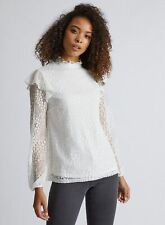 Dorothy Perkins Womens Tall Ivory Ruffle Lace Blouse Long Sleeve Round Neck Top