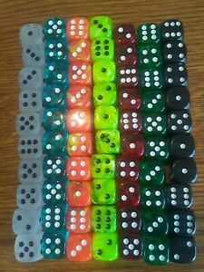 Lot of 70 Small 10mm Dice - 10 of Seven Different Colors - Role Playing Games