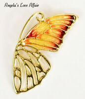 VINTAGE STYLE GOLD MULTI COLOURED HOLLOW ENAMEL BUTTERFLY WING INSECT BROOCH PIN