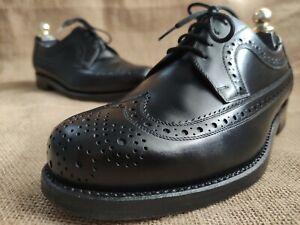 Heinrich Dinkelacker 9604 Men's Black Leather Wingtip Shoes Size UK 6    US 7