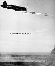 "U.S. Marine Corps Vought F4U-1 Corsair fires rocket 8""x10"" World War II Photo 41"