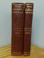 Collier's National Year Book Set Of 2 1938 and 1947 HC Free Shipping