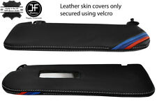WHITE STITCH M STRIPE 2X SUN VISORS LEATHER COVERS FOR BMW E30 81-92  SALOON