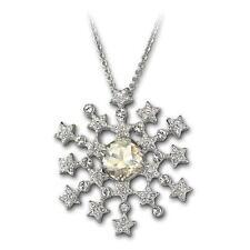 Swarovski Marbella Snowflake Pendant Brooch rhodium-plated chain
