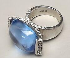 Pompöser 925 Silber Ring mit sehr großem Blautopas Cabochon Meisterpunze RG 53
