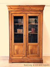 Antique French Bookcase Louis Philippe Cherrywood Linen Wardrobe Armoire - OF038