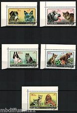 1971//FUJEIRA// 5 TIMBRES OBL.//CHATS & CHIENS //ANIMAUX DOMESTIQUES