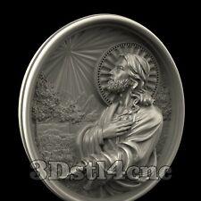 3D Model STL CNC Router Artcam Aspire Jesus Pray Religion Medallion Cut3D Vcarve