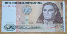 Billet de banque de 500 Intis, Pérou, José Gabriel Condor, comme neuf