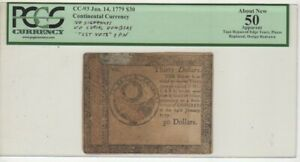 """CC-93 Jan. 14, 1779 $30 No SN, No Signatures EPN """"Treat this as a Test Note"""""""