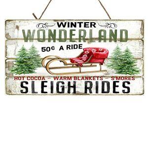 Winter Wonderland Sleigh Rides Christmas Printed Handmade Wood Sign