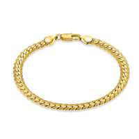 Gold Plated 18K Flat Bangle Chain Bracelet Wristband Unisex Fashion Jewelry 5MM