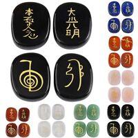 4 Pcs Engraved Usui Reiki Symbol Healing Energy Sanskrit Palm Crystal Stone Set
