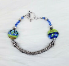 "Womens Bracelet Green Blue Stone Beads Silver Tone Toggle Clasp Boho  8"""