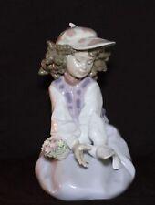 "Lladro Figurine #6399 ""Generouis Gesture"" New In Box Girl Flowers And Bird"