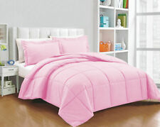 Hotel 200 GSM Down Alternative Comforter+Sheet Set Pink Solid King Size