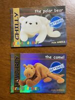 Ty S1 Blue Retired Chilly Humphrey Set Of 2 Beanie Baby Cards Series I