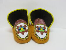 NATIVE AMERICAN FULL BEADED MOCCASINS 9 1/2 INCHES ADORABLE TURTLE DESIGN
