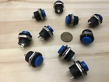 10 Pieces Blue small N/O Momentary 16mm push button Switch round 12v on off C18