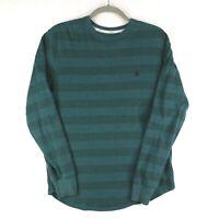 Volcom T-shirt Mens Medium Long Sleeve Thermal Green Striped Stretch Logo