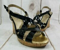 Women's Guess Black Open-Toe Cork Wedge Sandals Slingback Size: 7M