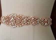 Wedding Dress Sash Belt - ROSE GOLD Crystal Pearl Sash Belt = 14.5 INCH LONG